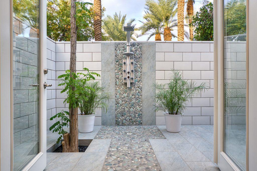 custom pool shower tile